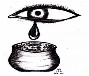 Keruh air mata kendi untuk Elak. Ilustrasi: Ari Mai Masturoh.