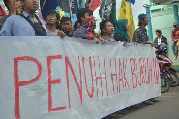 Aksi Aliansi Cipayung di Hari Buruh (1/5), Foto: Bernadeta Valentina.