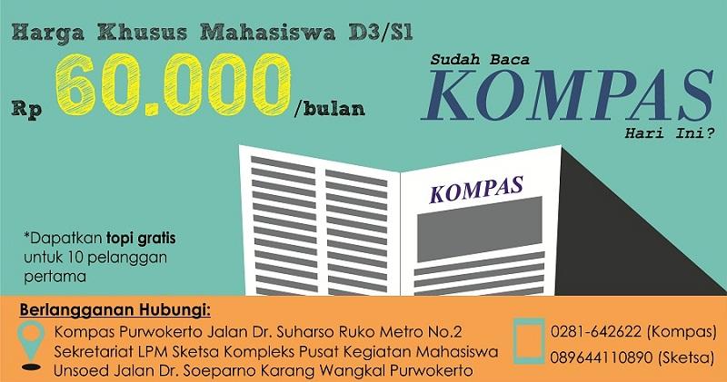Sangat Murah, hanya dengan Rp60.000.- mahasiswa sudah bisa berlangganan bulanan Harian Kompas.