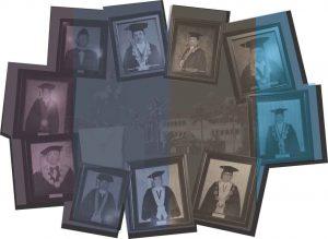 Kumpulan foto para rektor Unsoed yang ada di dinding dalam Gedung Rektorat. Ilustrasi: Mustiyani Dewi
